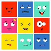 Set of colorful square emoticons, emoji flat backgound vector design. Vector illustration