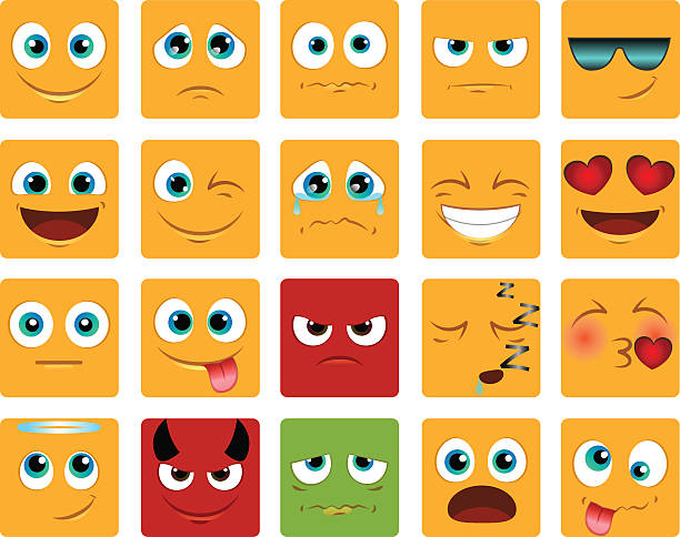 square Emoticons or smiley icons set vector art illustration