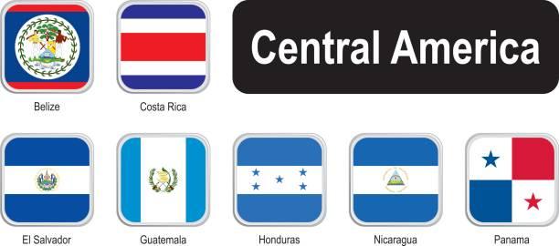 illustrations, cliparts, dessins animés et icônes de drapeaux carrés d'amérique centrale - drapeau du costa rica