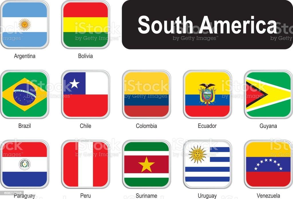 Plaza banderas de América del sur - ilustración de arte vectorial