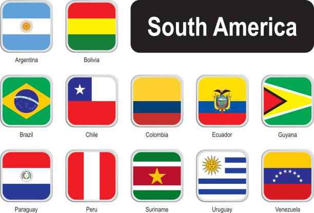 square flags of south america - ecuador flag stock illustrations