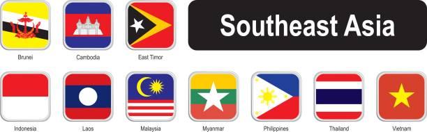 Quadratische Flaggen von Südost-Asien – Vektorgrafik