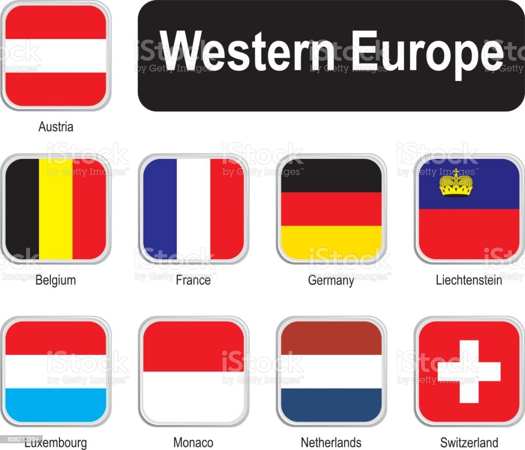 Square flags of western Europe vector art illustration