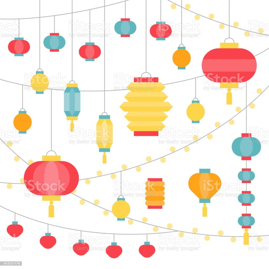 Square Flat Design Illustration Of Hanging Chinese Paper ...