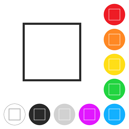 Square. Flat icons on buttons in different colors