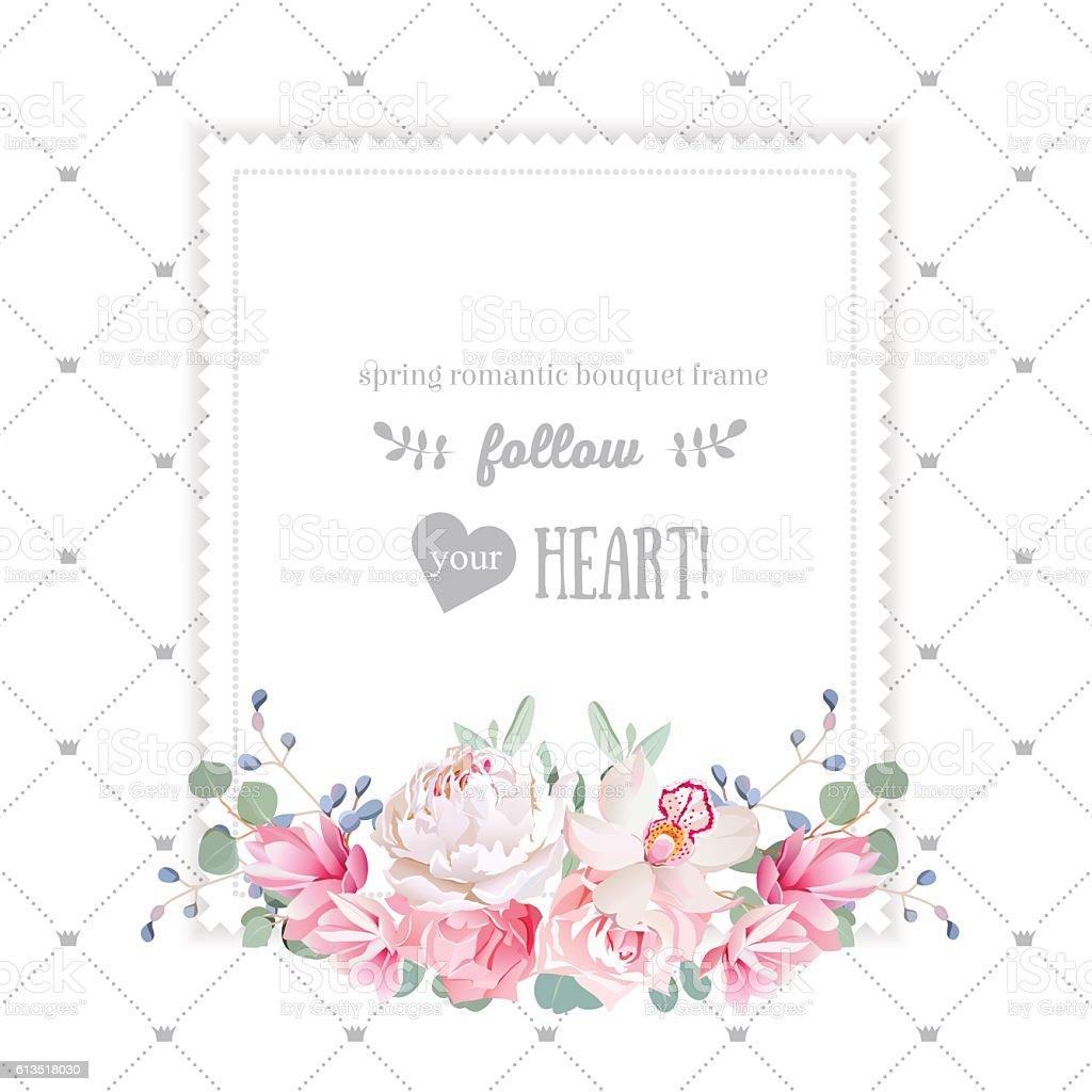 Square floral design frame - illustrazione arte vettoriale