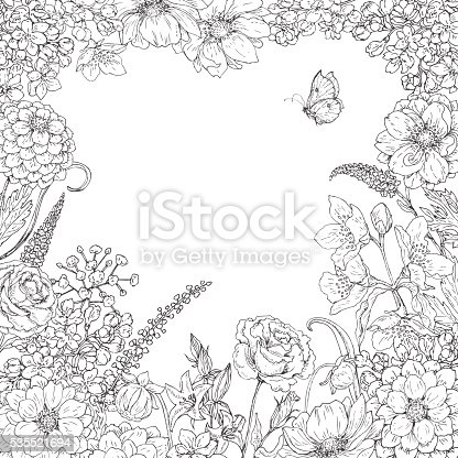Hand drawn square floral frame  with flowers  and butterfly. Black and white doodle flowers for coloring. Floral elements for decoration. Vector sketch. Space for text.