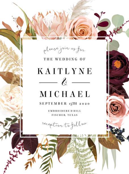 stockillustraties, clipart, cartoons en iconen met vierkante bloemen label frame gerangschikt van bladeren en bloemen. - boho