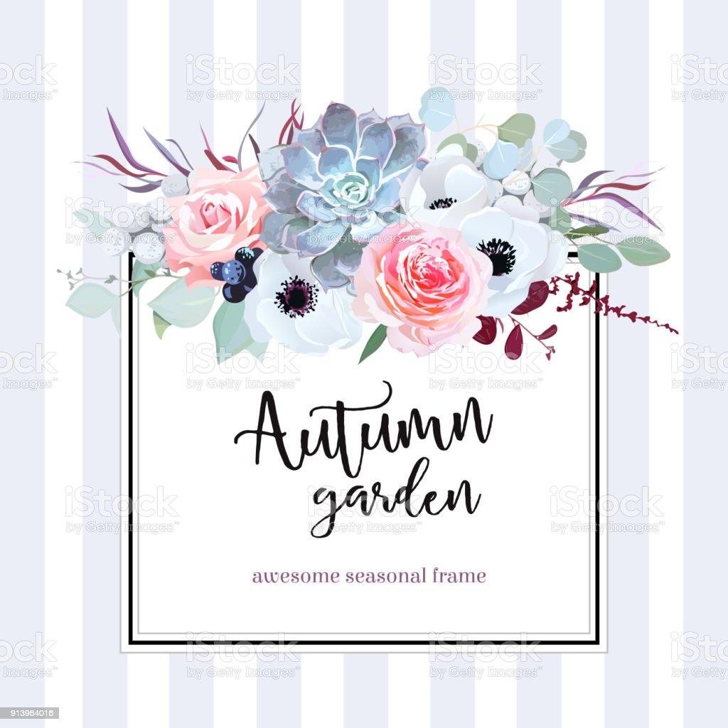 Carte de carré floral vector design - Illustration vectorielle