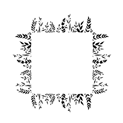 Square flowers frames. Black and white. Decorative frameworks  perfect for designing greeting cards, wedding cards, packaging, textiles, holiday decorations