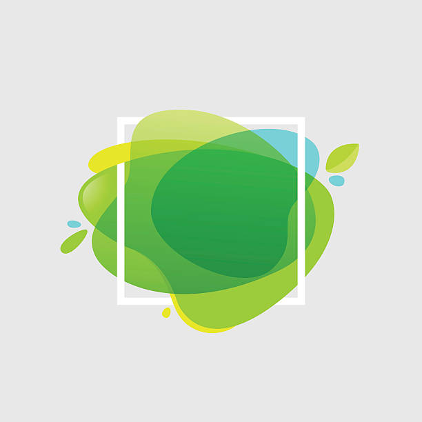 Square frame at green watercolor splash  background. vector art illustration