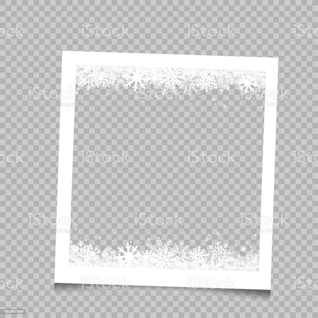 Cadre carré neige Noël - Illustration vectorielle