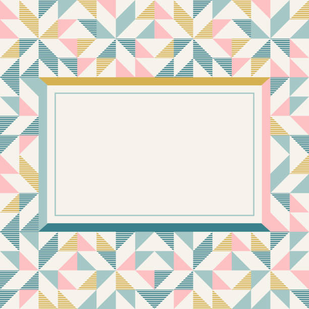 Square frame in retro colors, abstract geometric background pattern vector art illustration