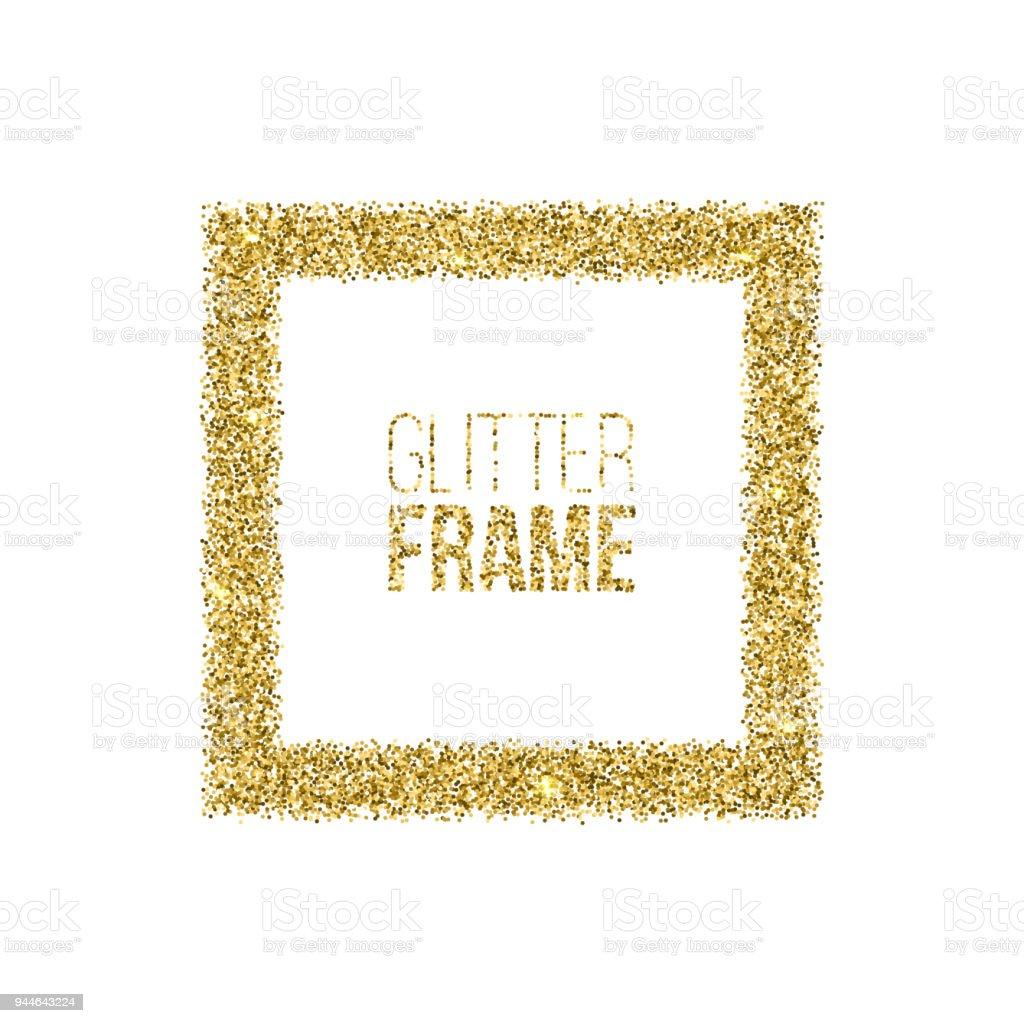 Ilustración de Marco Cuadrado De Glitter Oro Aislada Sobre Fondo ...