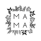 istock Square frame of flowers with the word Mama. Lettering composition for Mothers Day for merch t-shirts, prints, cups. 1270365462
