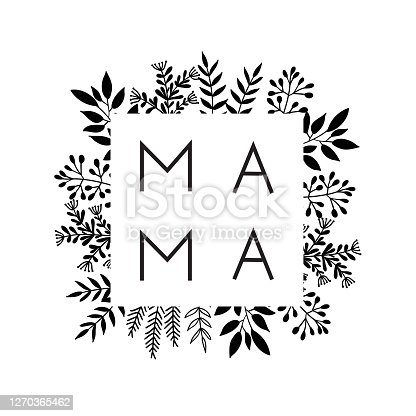 Square frame of flowers with the word Mama. Lettering composition for Mothers Day for merch t-shirts, prints, cups.