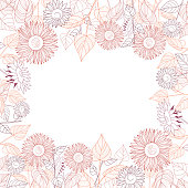 Square frame of sunflowers. Line drawing on white background. Autumn. Hand drawn vector.