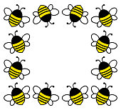 Square frame with cartoon cute bees for your text. Vector illustration