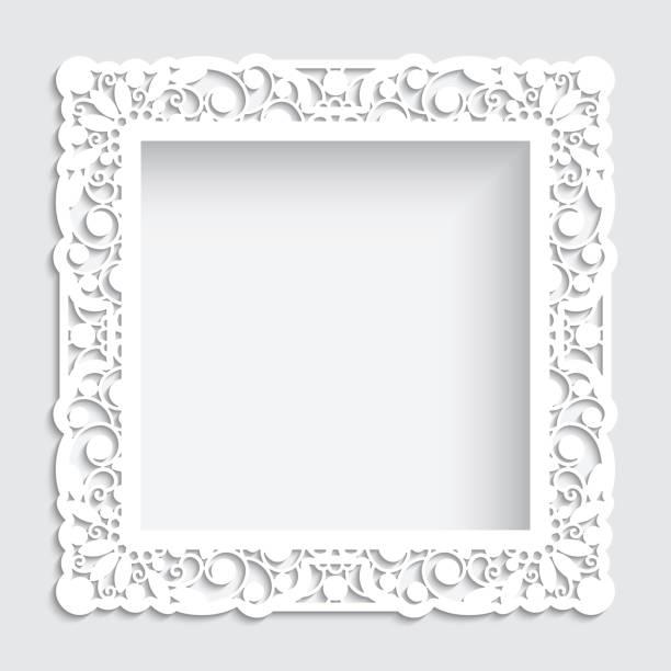 quadratischen rahmen mit ausschnitt grenze ornament - laservorlagen stock-grafiken, -clipart, -cartoons und -symbole