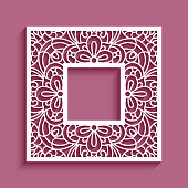 Square frame with lace border ornament, template for laser cutting, elegant cutout decoration for wedding invitation card with place for text