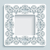 Square frame with cutout lace border