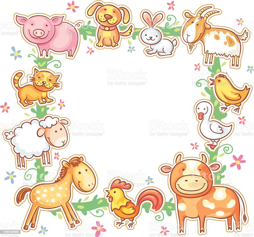 Square Frame With Farm Animals Stock Vector Art & More Images of ...