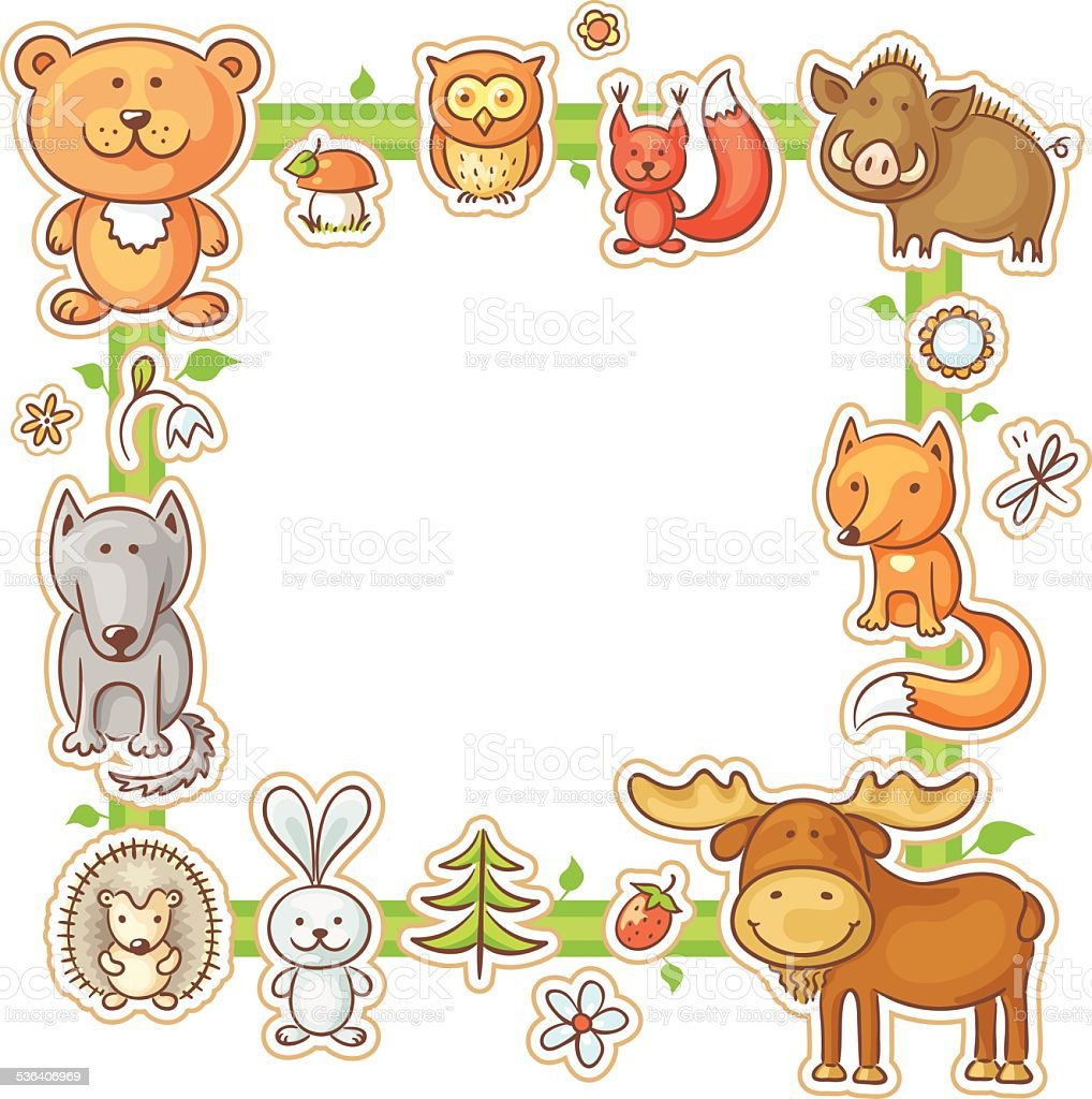 square frame with forest animals stock vector art more images of rh istockphoto com forest animal clipart black and white rainforest animal clipart