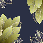 Square dark background with bright green and golden tropical leaves. Summer exotic leaf frame for birthday greeting cards, banner design, wedding decoration