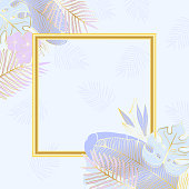 Square frame with lilac tropical leaves and flowers with golden contours. Elegant template for invitation, greeting card or banner.