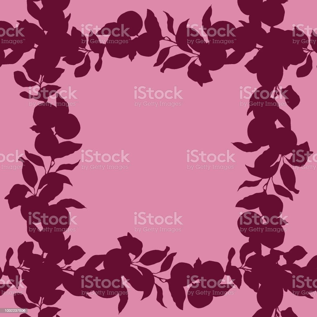 Square frame with silhouette of lemon, lime citrus tree branches in bordo and pink colors векторная иллюстрация