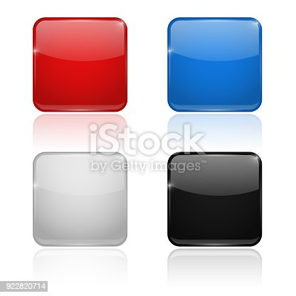 istock Square glass buttons. Colored set 3d icons 922820714