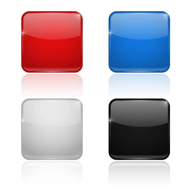 方形玻璃按鈕。彩色套裝3d 圖示 - 按鈕 幅插畫檔、美工圖案、卡通及圖標
