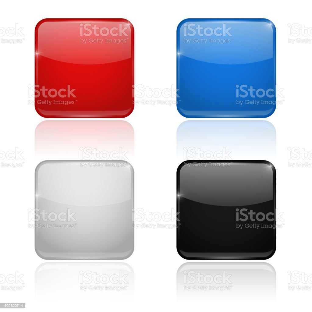 Square glass buttons. Colored set 3d icons vector art illustration