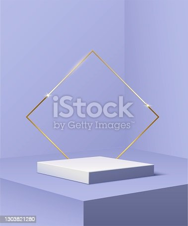 istock Square golden podium with rhombus frame standing on blue pastel background. 3d pedestal for product vector illustration. Gold stage with rectangle glowing in sparkles. Abstract realistic decoration 1303821280