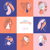 Square Greeting card for international women's day or eight of march for banner, poster, social media post, landing page. Abstract linear Portraits of different female characters. Vector design