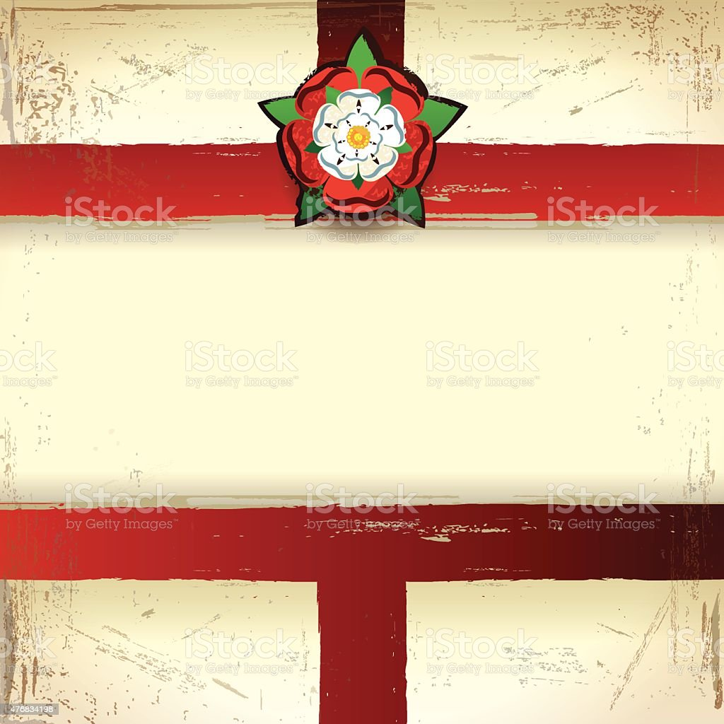 square grunge background with england flag and tudor rose stock