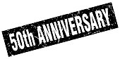 square grunge black 50th anniversary stamp