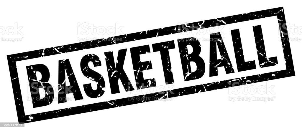 square grunge black basketball stamp vector art illustration