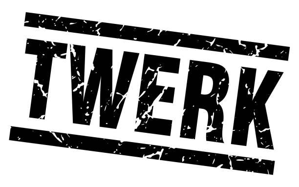 illustrations, cliparts, dessins animés et icônes de timbre twerk carrés grunge noir - twerk