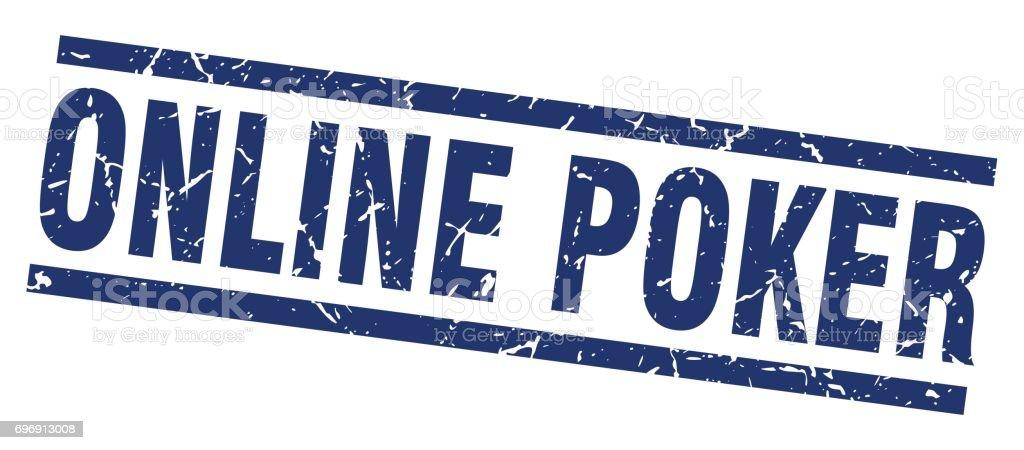 square grunge blue online poker stamp vector art illustration