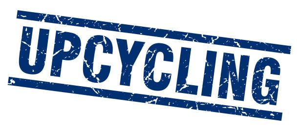 blaues quadrat grunge upcycling stempel - upcycling stock-grafiken, -clipart, -cartoons und -symbole
