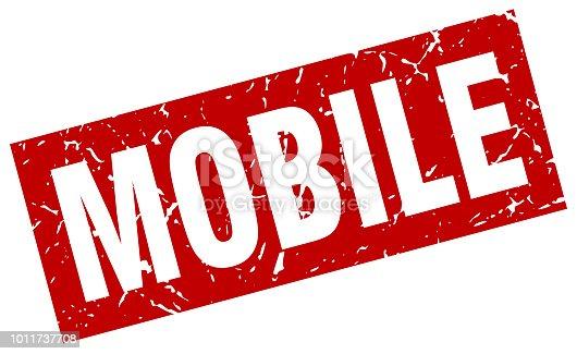 Rote Quadratische Grunge Mobile Stempel Stock Vektor Art Und Mehr Bilder Von Abzeichen 1011737708