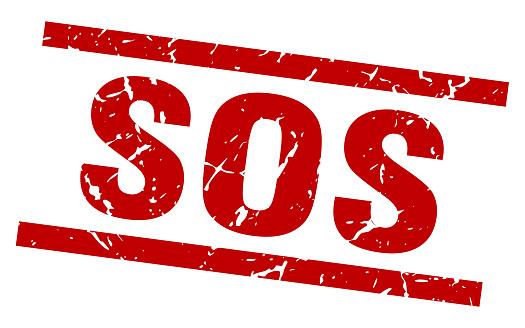 square grunge red sos stamp