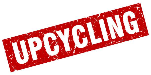 rote quadratische grunge upcycling stempel - upcycling stock-grafiken, -clipart, -cartoons und -symbole