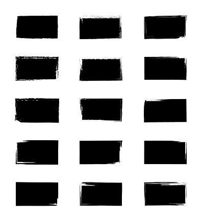 Square grunge texture. Paint from brush. Stamp with rough frame. Distressed borders on black shapes. Black ink for label, background, pattern. Boxes for banner, tag, sales. Geometric template. Vector.