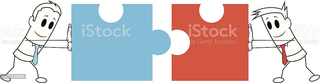 Square guy - Push to puzzle pieces vector art illustration