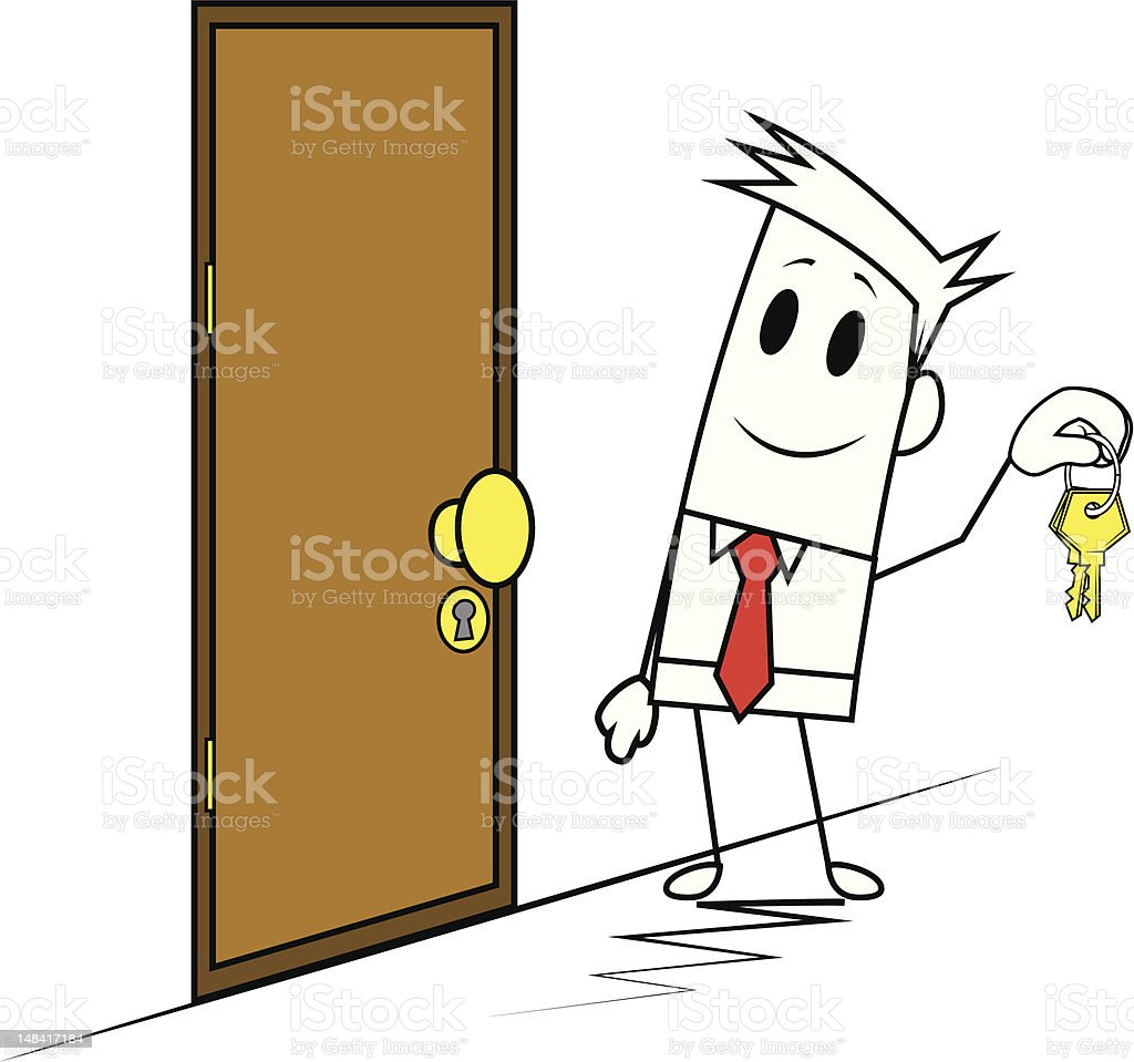 Square guy-Door and key royalty-free stock vector art