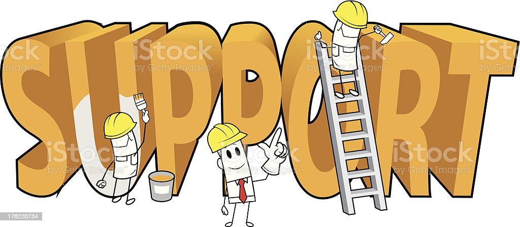 Square guy-Under construction 'support' royalty-free stock vector art