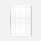 Square hole punched A4 white cross section paper sheet, mock-up