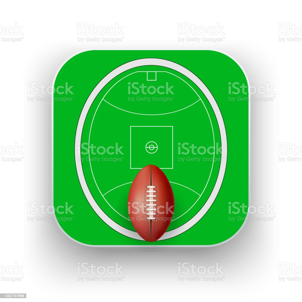 Square icon of Australian rules football sport vector art illustration